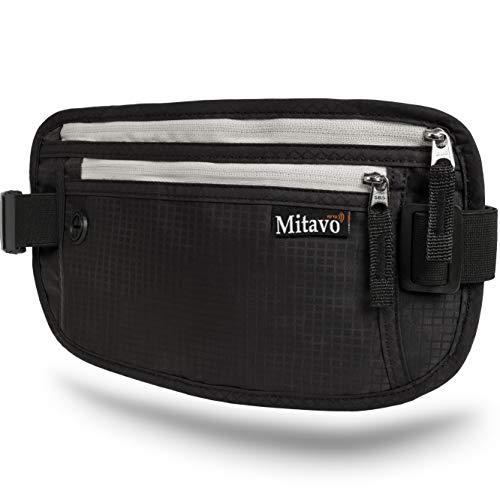 Mitavo platte heuptasje met RFID-blokker, hardloop heuptas, reizen, joggen, waterafstotend, zwart