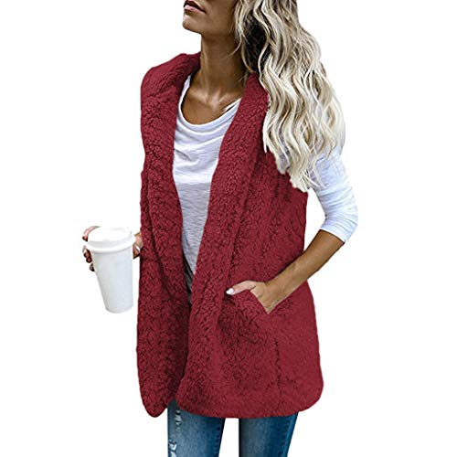 Lialbert Weste Damen Fleece-Weste Mantel Winter Warm Outwear Ärmellose mit Kapuze Winterjacke Pelzweste Felljacke Faux Fur Up Sherpa Jacke Outwear