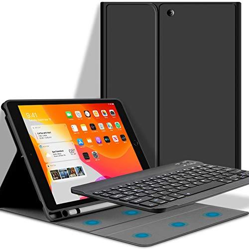 GOOJODOQ Tastatur Hülle Für iPad 10.2 (7 Gen 2019)/(8 Gen 2020), Weiche TPU-Rückabdeckung Mit Stifthalter+Magnetisch Abnehmbarer Drahtloser Bluetooth V3.0 Tastatur