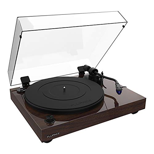 Fluance RT84 Reference High Fidelity Vinyl Turntable Record Player with Ortofon 2M Blue Cartridge, Speed Control Motor, Solid Wood Plinth, Vibration Isolation Feet - Walnut