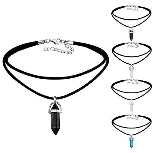 MJARTORIA Unisex Halskette Choker Freundschaftsketten Bunt CZ Kristall Hexagon Chakra Anhänger Kette 6er/5er/16er Damen Herren Geschenk Set (Schwarz-5er)