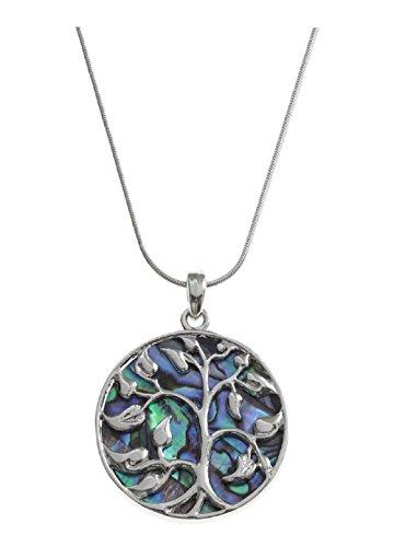 BellaMira Abalone Paua Shell Tree of Life Pendant (43mm) Necklace