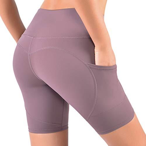 VBIGER Shorts Damen Tights High Waist Yoga Sporthose Radlerhose Leggings Damen Kurze 4 Weg Kompression Biker Shorts Leggins mit 3 Taschen Jogginghose für Frauen Sport Fitness Laufen Workout