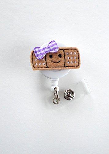 Smiling Bandage Purple - Retractable Badge Reel - Name Badge Holder - Nurse Badge Holder - Pediatric Nurse Badge - Felt Badge - RN Badge Holder Photo #3
