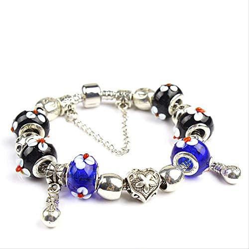 ZLININ Y-Longhair Damen Armband Schmuckstück, europäische Frauen Kleid Accessoires, Mode Tandem Glasarmband Länge 20cm Schwarz Blau Perlen
