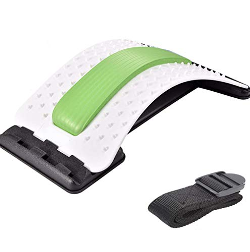 Emoly Back Stretcher - Lower and Upper Back Pain Relief, Lumbar Stretching Device,Posture Corrector - Back Support for Office Chair | Upper Back Stretcher Support and Pain Relief (White/Green)