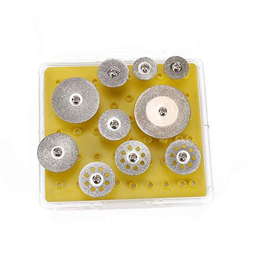Join Ware 10 Pcs Diamond Cutting Wheel Cutting Discs Cut-off Wheel Blades Set Rotary Grinding Tool Mini Circular Blade Discs with Mandrel