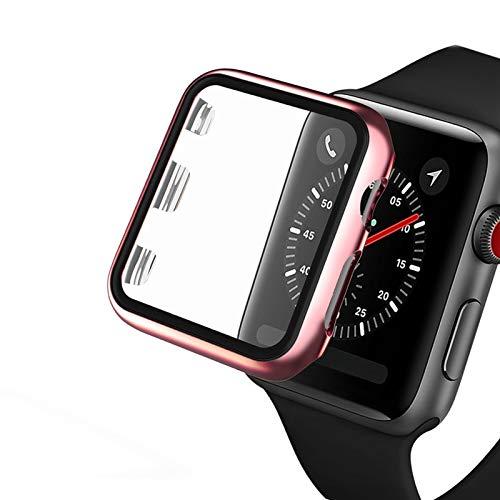 Flyuzi Caja Clara con la Cubierta Protector de Pantalla de Vidrio para la Serie de Relojes de Apple 5 4 3 2 1 para iWatch 38mm 40 mm 42mm Accesorios de protección de 44 mm