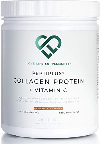 PEPTIPLUS Collagen Protein + Vitamin C by LLS | Hydrolysed Bovine Collagen Plus Vitamin C for Enhanced Collagen Production | 540g / 30 Servings | Chocolate Orange Flavour | UK Made