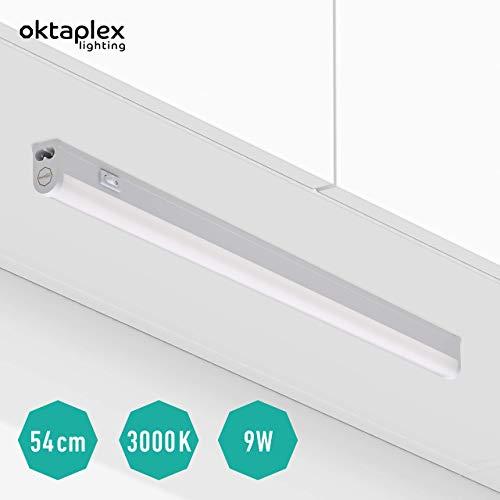 Oktaplex lighting LED Unterbau-Leuchte mit Schalter Riga 54cm I Praktische Unterschrank-Beleuchtung Lichtröhre 9W 810lm I Blendfreie Helle Küchen-Beleuchtung LED Leiste Warmweiß 3000K erweiterbar