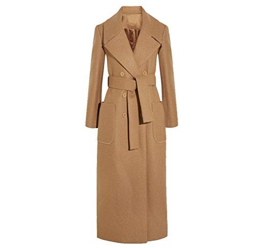 YuanDian Donna Lungo Doppio Petto Risvolto Eleganti Colori Solidi Giacca Cappotti Cammello M