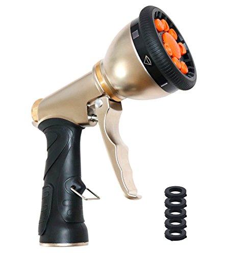 Garten handBrause,Garten-Sprühpistole Hochdruck Gartenbrause Multifunktion Pistole robuste Vollmetall-Körperbau für Auto waschen, Garten Bewässerung, Haustier waschen, Reinigung