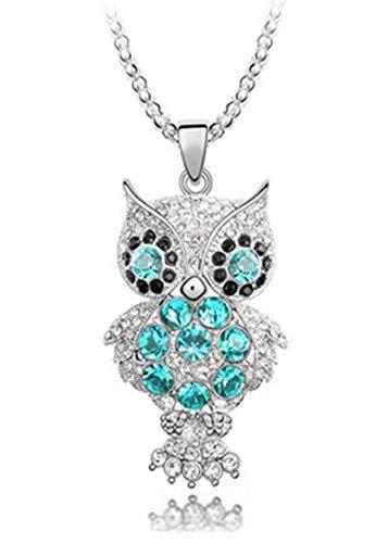 QUADIVA E! - Collana da donna con ciondolo a forma di gufo (colore: oro bianco/blu/nero) decorata con cristalli scintillanti Swarovski