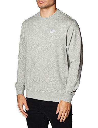 Nike Herren Sportswear Club Sweatshirt, Dk Grey Heather/Weiss, M