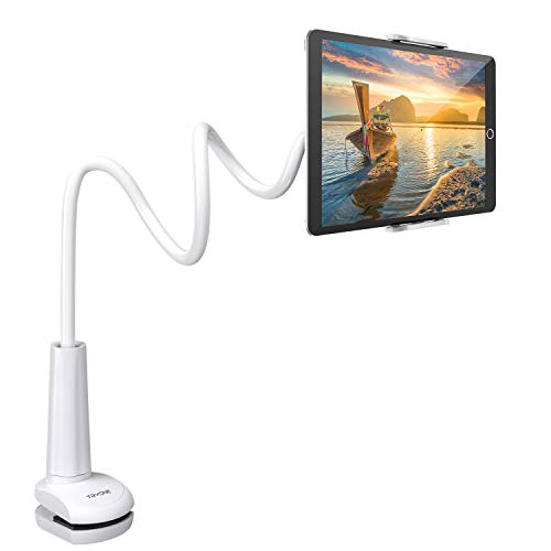 Tryone Gooseneck Tablet Stand, Tablet Mount Holder for iPad iPhone Series/Nintendo Switch/Samsung Galaxy Tabs and more, 30in Overall Length (White)
