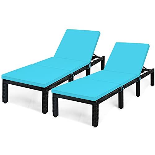 QILIYING PATIZE SAREA PEDIA Sedia Lounge, Patio Garden Rattan Lounge Chaid Chaise Couch Ammortizzato in Altezza Regolabile Chaise Lounge by (Color : 2HW62360TU)