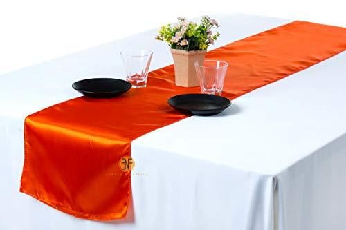 Events n Fabrics ENF Lot DE 20 Chemin de Table en Satin pour Mariage Banquet Fête Décoration de Cas, Satin SR09- Orange