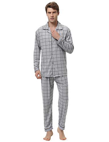 Aibrou Pijama Hombre Invierno Algodón,Pijamas de casa con Boton Ropa de Dormir Casual 2 Piezas Suave y Cómodo