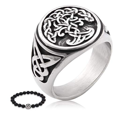 Gungneer Stainless Steel Yggdrasil Tree of Life Ring Celtic Jewelry Protection Irish Triquetra Accessories Men Women