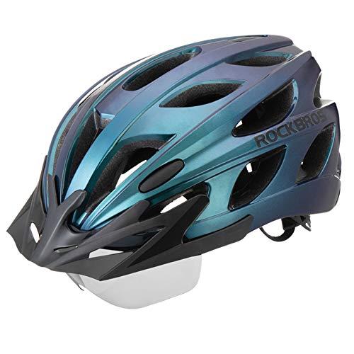 ROCKBROS Fahrradhelm MTB Rennrad Radhelm Integriert mit Abnehmbaren Magnet Brillen Visier Größe Verstellbar 57-62CM Ultraleicht 281g (Blau)