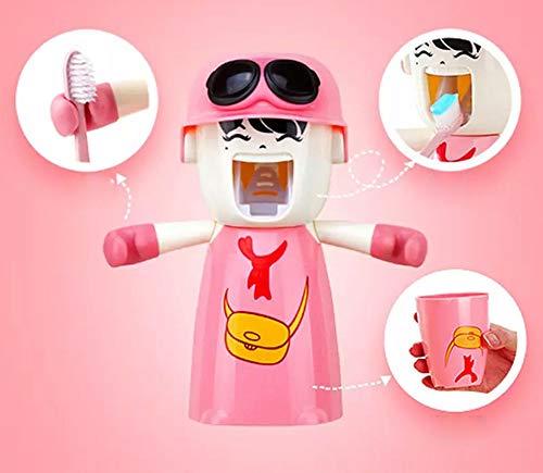 Kinderzahnbürstenhalter mit Tasse, Nette Hände geben Zahnpastaspender frei Kinder automatischer Karikatur-Zahnpasta-Squeezer-Kasten, Wand-Bad-Kit Leicht zu reinigen (Rose)