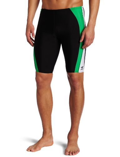 Speedo Men's Sonic Splice Jammer Swimsuit, Black/Green, 38