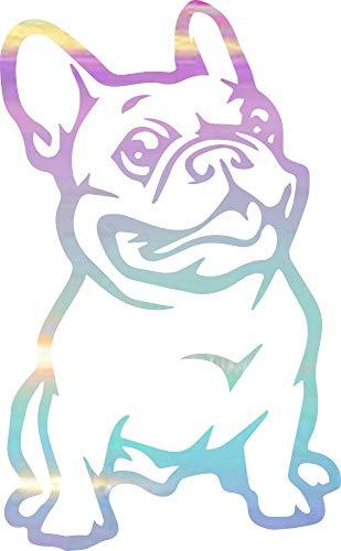 NBFU DECALS Funny Animals French Bulldog (Holographic Opal Purple) (Set Of 2) Premium Waterproof Vinyl Decal Stickers Laptop Phone Accessory Helmet Car Window Bumper Mug Tuber Cup Door Wall Decoration