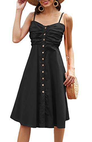 Odosalii Damen Sommerkleid Ärmelloses Maxikleid Verstellbaren Spagettiträgern Strandkleid Knöpfe Vintage Cocktailkleid Kleider (Medium, Schwarz01)