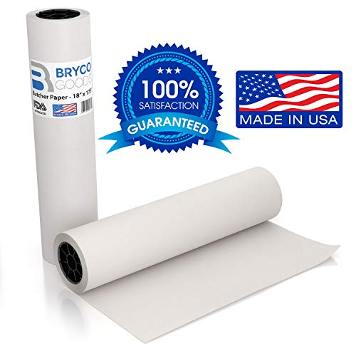 White Kraft Butcher Paper Roll - 18 Inch x 175 Feet (2100 Inch) - Food Grade White Wrapping Paper for Smoking Meat of All Varieties – Unwaxed and Uncoated - Made in USA