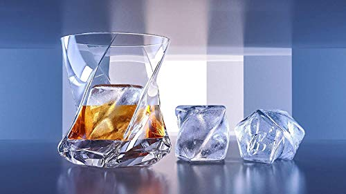 STAR Premium Whiskey Glasses set of 2, Lead Free Hand Blown Crystal+FREE Matching Ice Cube Mold,Heavy Thick bottom-Unique Tumblers for Drinking Scotch,Bourbon,Old Fashioned, Whisky glass Set Gift set
