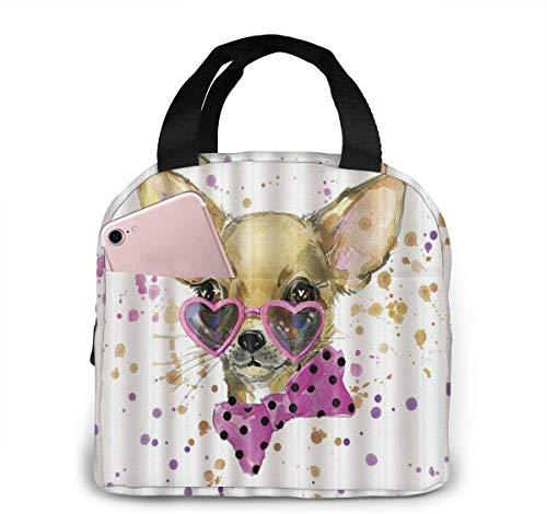Chihuahua con gafas en forma de corazón Bolsa de almuerzo para mujeres,niñas y niños Bolsa de picnic aislada Gourmet Tote Cooler,bolsa cálida para la escuela,trabajo,oficina