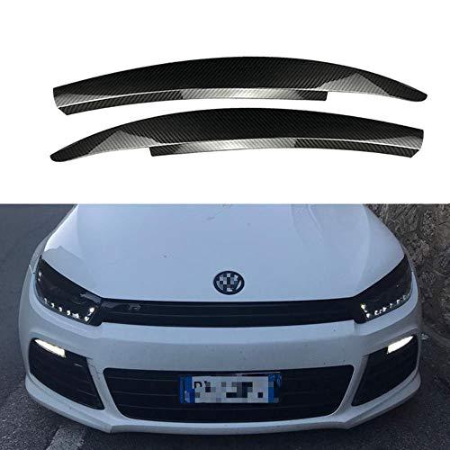 QQKLP Auto-Scheinwerfer-Augenbraue-Aufkleber-Dekoration Fit für Vo-Lkswagen VW Scirocco GTS 2008 2009 2010-2017 Zubehör Car Styling,Carbon Fiber