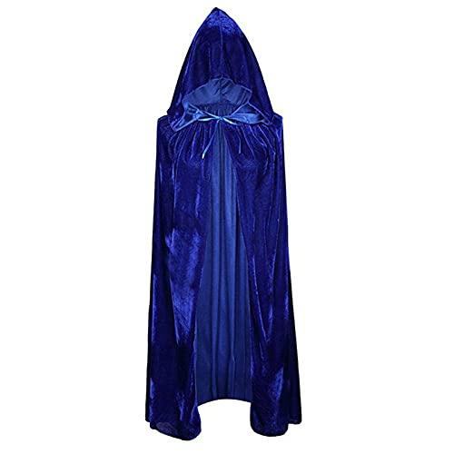 HLONGG Halloween Capa de Terciopelo con Capucha Robas de Rendimiento Disfraz de Bruja Capa Asistente para el Traje de Disfraces de Cosplay Outgos de Fiesta Unisex,Azul