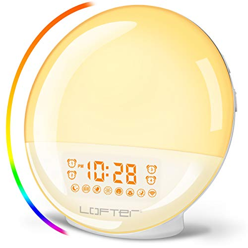 Wifi Smart Wake Up Light, Sunrise Sunset Simulation Alarm Clock, App and Voice Control Table Bedside Lamp, 7 Colors Mood Night Light With 4 Sets Alarms, Snooze Function, Fm Radio, 7 Nature Sounds