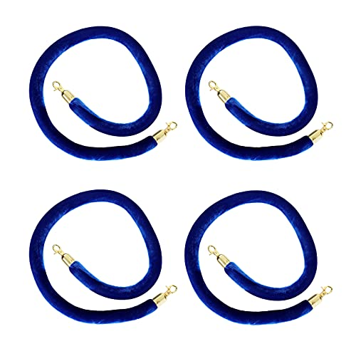 FVIEXE 4PCS Stanchion Rope 5 Feet, Blue Velvet Rope Barrier, Velvet Stanchion Rope with Gold Hooks, Crowd Control Barrier Rope for Red Carpet Movie Theaters Hotels Restaurants Wedding Filmroom