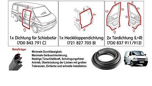 4x Gummidichtung T4 KASTEN 2x Türdichtung + Heckklappe + Schiebetür Dichtungssatz Gummidichtung Dichtung (Nicht für Bus/Multiv.) Set