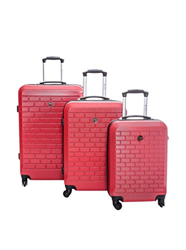 Geographical Norway Set de 3 trolleys rígidos Strass Rojo