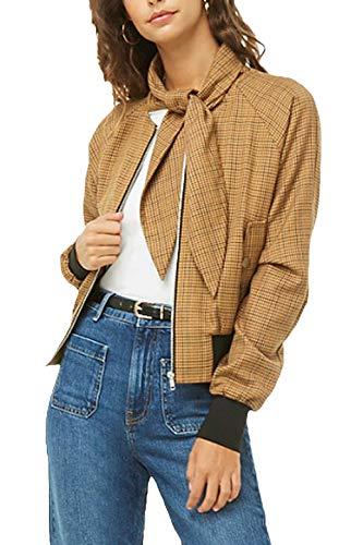 Płaszcz damski w kratkę Young Fashion Outerwear Kobiety Vintage Classic Coat Karo Basic Nadruk Ładny Slim Fit, żółty, L
