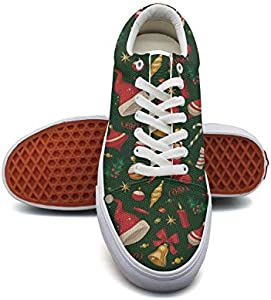 WomanChristmas Gift Elements Canvas Shoes Low-Cut Straps Funky Sneakers Suitable for Walking