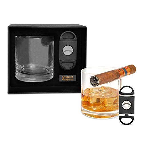 Whiskey Glass With Cigar Holder By Stratford Oakwood - Cigar Cutter Included - Beautiful Accessory Box Makes a Great Gift Set For Men - Old Fashioned Cocktail Glass Works Great With Cohiba, Montecrist