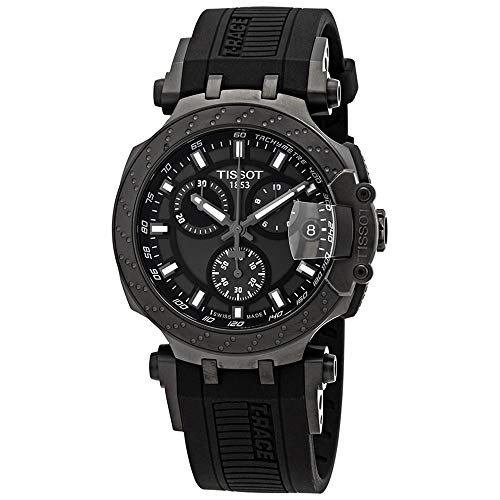 Tissot mens T-Race Chrono Quartz Stainless Steel Casual Watch Black T1154173706103