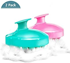 (2 Pack) Shampoo Brush Hair Scalp Massager, Soft Silicone Scalp Care Brush [Wet & Dry] Perfect for Men, Women, Kids and Pets (Pink/Green) (Blue & Pink)