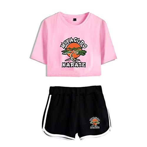 JDSWAN Mujeres Cobra Kai Conjunto de Chándal Manga Corta Miyagi-DO Karate Impreso Camiseta Crop Tops + Pantalones Cortos 2 Piezas Deportivos Trajes Pijama Verano