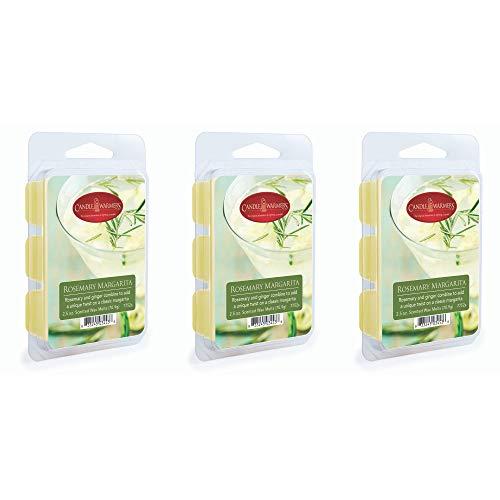 CANDLE WARMERS ETC 3 Pack Soy Wax Blend Classic Fragrance 2.5 oz Wax Fragrance Melt Tart, Rosemary Margarita