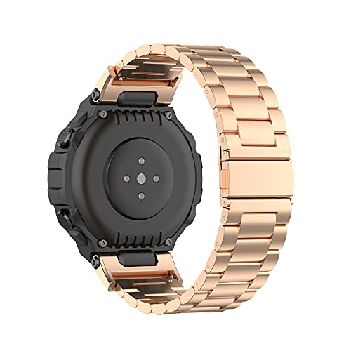Fawyhr Stainless Steel Watch Band,Smart Watch Replacement Bracelet Straps Metal Security Buckle Strap,Quick Release Metal Wristband (Color : Rose gold)