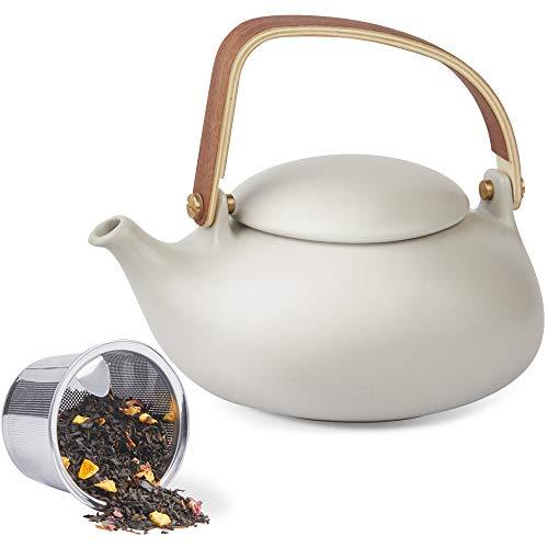 ZENS Teekanne Porzellan Grau, Japanische Keramik kanne mit Sieb für Losen Tee, 800ml Matt Chinesisch Klein Teapot mit Modern Bugholz Griff für Zwei Personen