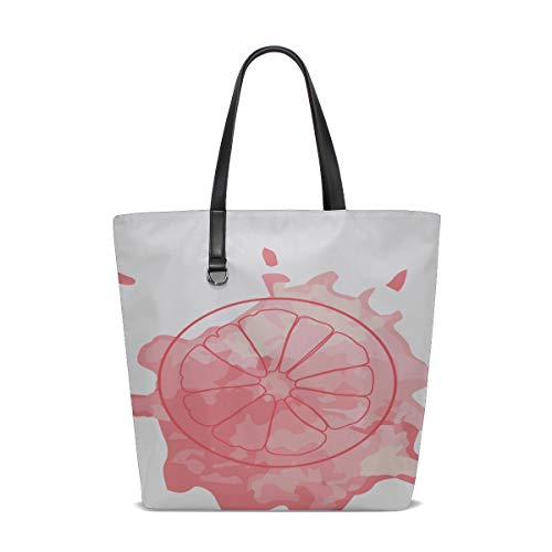 Best Tote Bags For Women Handle Satchel Shoulder Bags For Girls Purse Messenger Bags Teacher Tote Isolated Pink Outline Slice Grapefruit On Printing Backpack Tote Bag