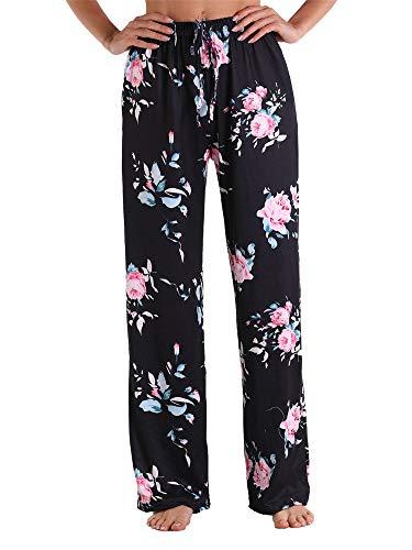 Eghunooye Schlafanzughose Damen Lang Kariert Bedruckte Pyjamahose Nachtwäsche Hose mit elastischem Tunnelzugbund Freizeithose Hausanzughose S-3XL (B1, S)