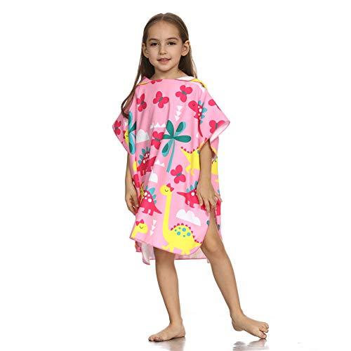ED-Lumos Toalla de baño con Capucha para niño niña Poncho Playa Infantil Microfibra Albornoz 4-7 años Dinosaurio Rosa