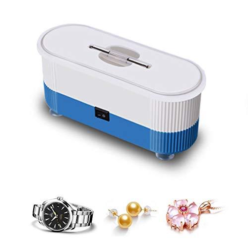 LFMHKM Ultraschall-Reinigungsgerät Haushalt Kleiner Mini Multifunktionale tragbarer Schmuck Brille Reinigungsmaschine für Münzen Keys Ringe Halskette,Blau